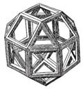 Dessin d'un petit rhombicuboctaèdre par Léonard dans la Divine Proportion de Luca Pacioli, 1509.